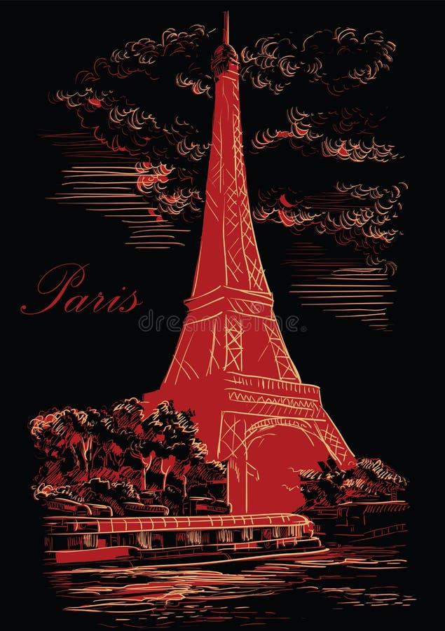 Mano negra y roja del vector que dibuja París 1 libre illustration