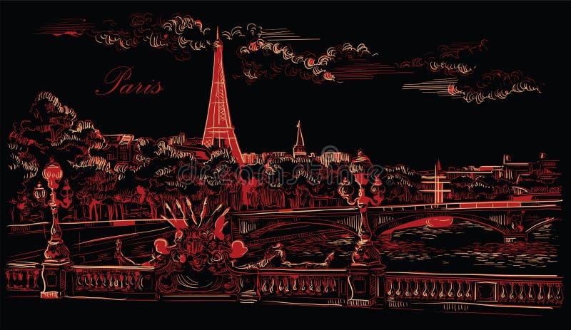 Mano negra y roja del vector que dibuja París 8 stock de ilustración