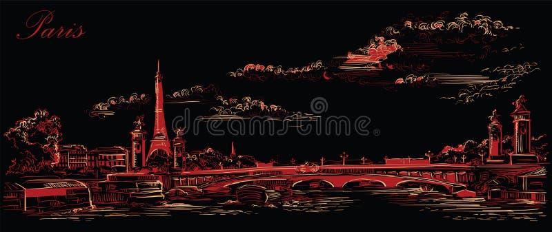 Mano negra y roja del vector que dibuja París 4 stock de ilustración