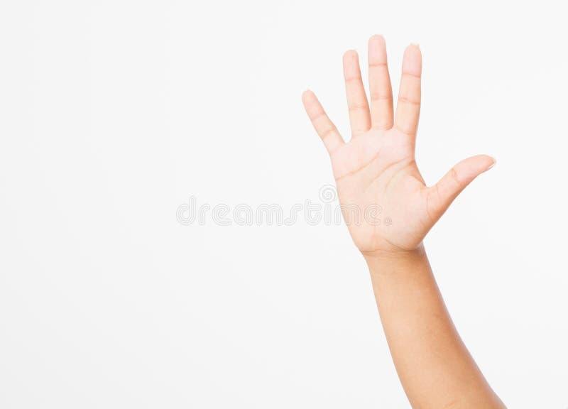 Mano nera isolata su bianco Mano di voto Derisione su Copi lo spazio mascherina blank fotografia stock