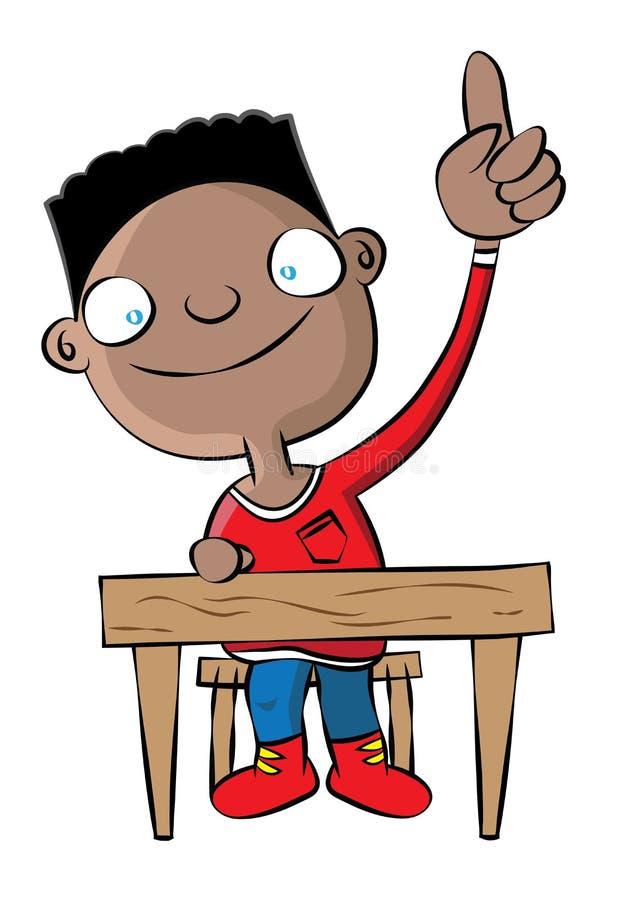Mano nera sveglia di aumento del ragazzo di scuola nella classe royalty illustrazione gratis