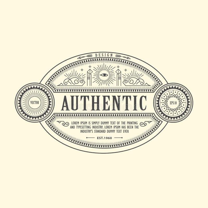 Mano occidental de la etiqueta de la frontera del vintage del marco de la antigüedad de Art Deco dibujada libre illustration