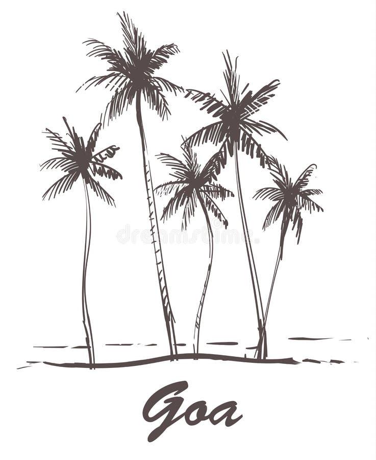 Mano Palm Beach exhausta, ejemplo del bosquejo de Goa stock de ilustración