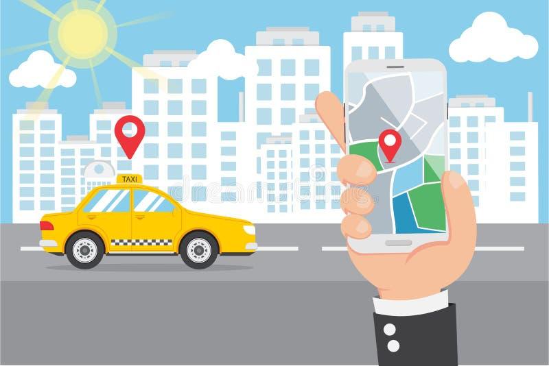 Mano piana che tiene Smartphone ed il taxi astuto di chiamata fotografie stock