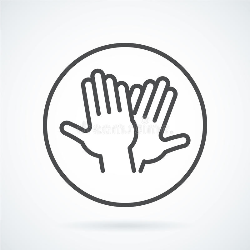 Mano piana nera di gesto dell'icona del livello umano cinque, accogliente illustrazione vettoriale