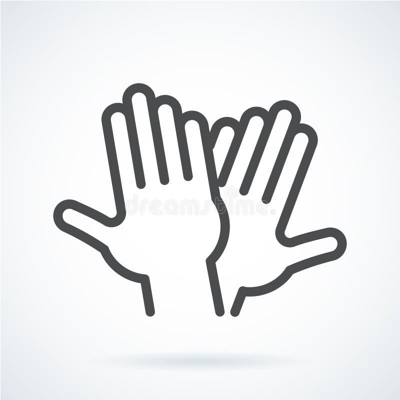 Mano piana nera di gesto dell'icona del livello umano cinque, accogliente illustrazione di stock