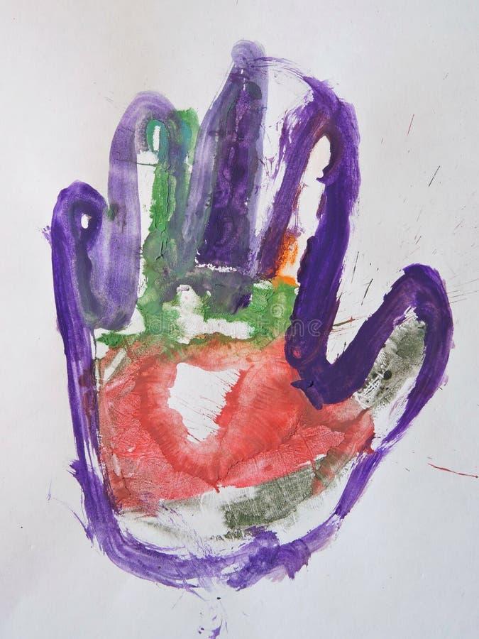 Mano pintada niño foto de archivo libre de regalías