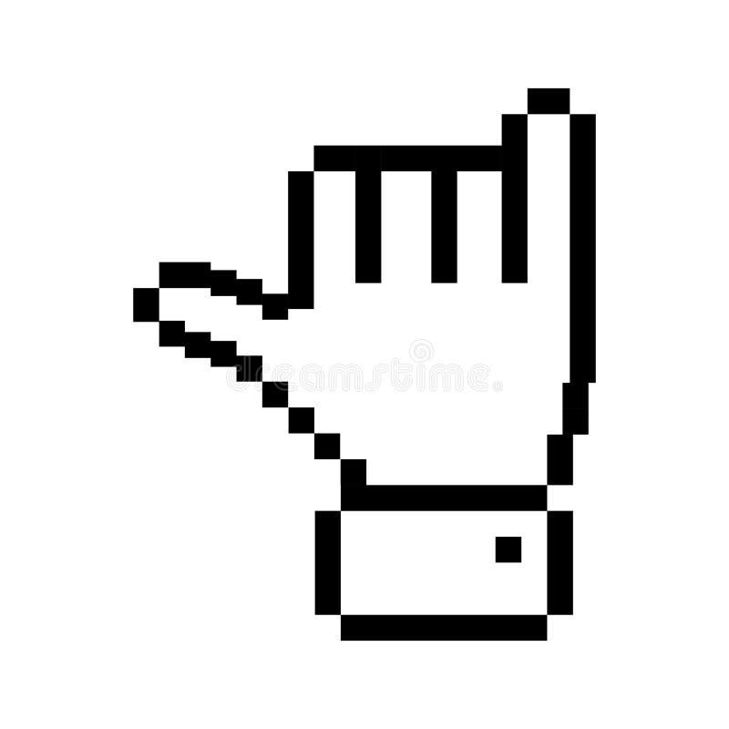 Mano pixelated profilo con il simbolo della roccia royalty illustrazione gratis