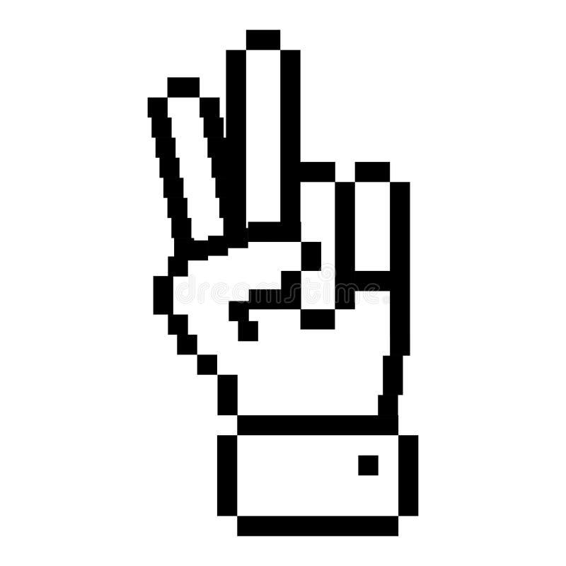 Mano pixelated profilo con un simbolo di due dita illustrazione di stock