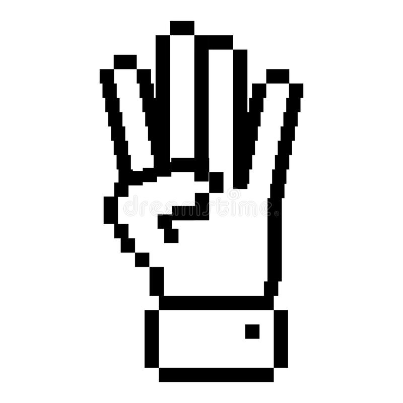 Mano pixelated profilo con un simbolo di quattro dita royalty illustrazione gratis