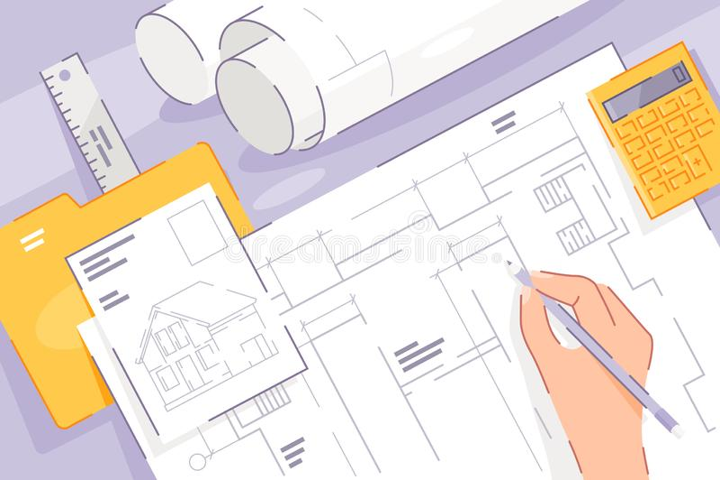 Mano plana con el proyecto del dibujo del desarrollo de la casa libre illustration