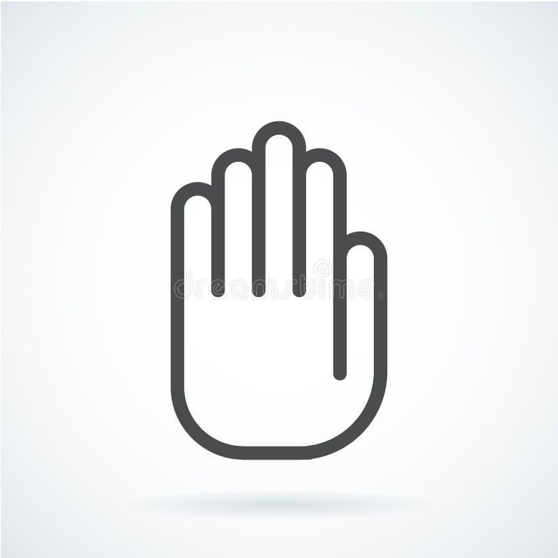 Mano plana negra de una parada humana, palma del gesto del icono libre illustration