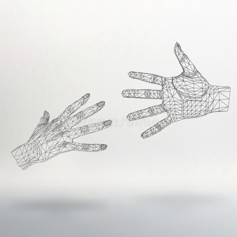 Mano poligonale del fondo della maglia delle linee illustrazione di stock