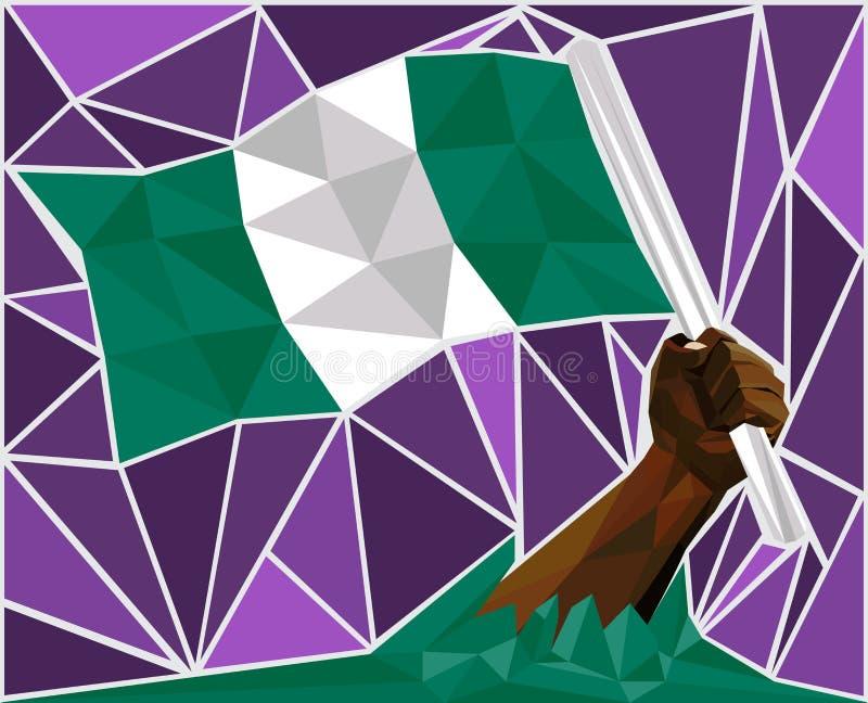 Mano potente dell'uomo di colore che alza la bandiera della Nigeria illustrazione vettoriale