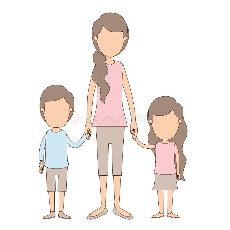 Mano presa madre piena anonima del corpo di caricatura di colore leggero con i bambini illustrazione vettoriale