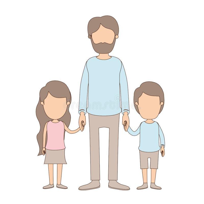 Mano presa uomo barbuto pieno anonimo del corpo di caricatura di colore leggero con la ragazza ed il ragazzo illustrazione vettoriale