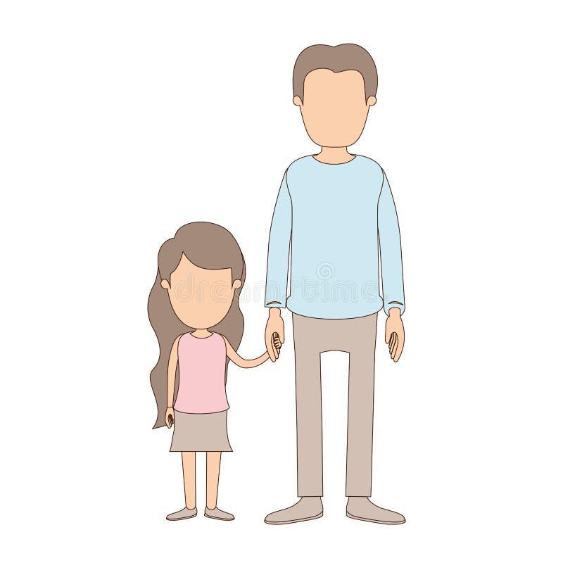 Mano presa uomo pieno anonimo del youn del corpo di caricatura di colore leggero con la bambina royalty illustrazione gratis