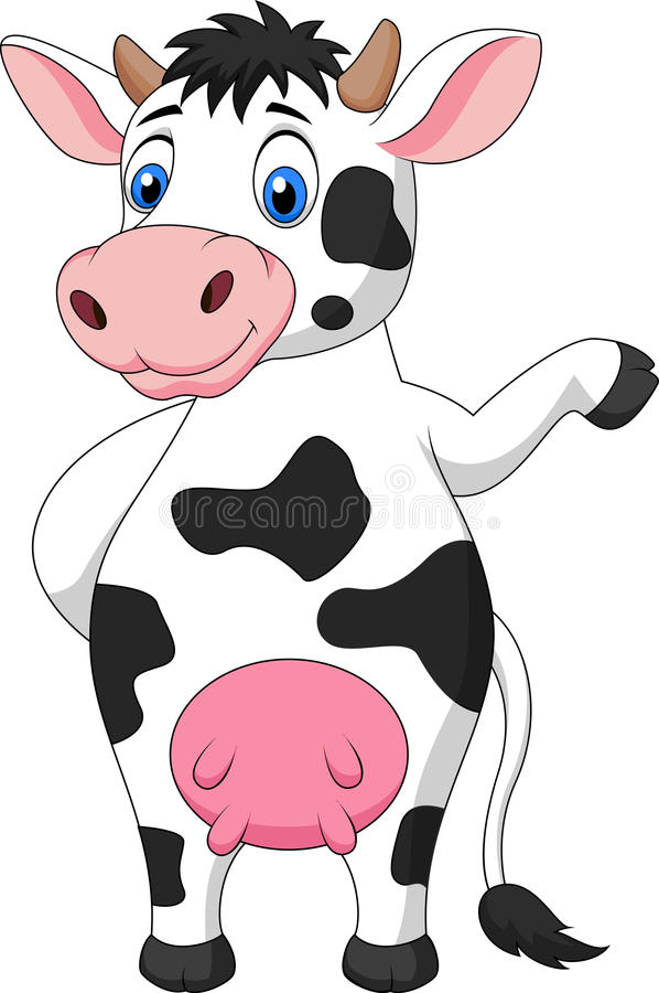 Mano que agita de la historieta linda de la vaca stock de ilustración