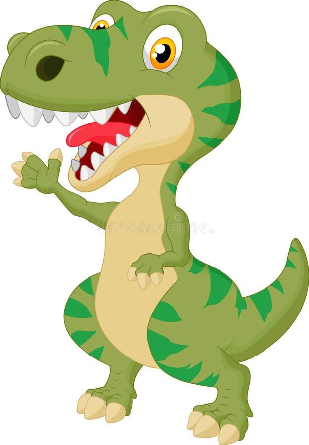 Mano que agita de la historieta linda del tiranosaurio ilustración del vector