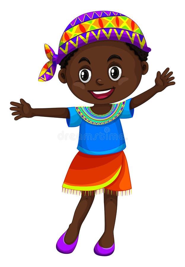 Mano que agita de la muchacha de Zimbabwe stock de ilustración
