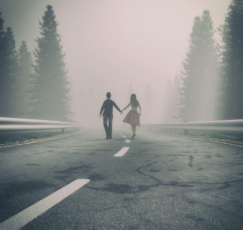 Mano que camina de los pares en un camino forestal libre illustration