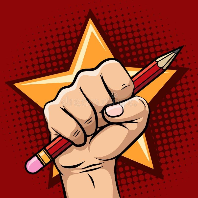 Mano que celebra el ejemplo del lápiz ilustración del vector