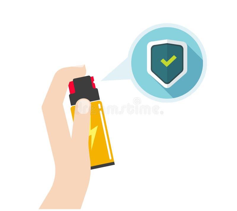 Mano que celebra el ejemplo del vector del espray de la autodefensa, botella plana de la pimienta stock de ilustración