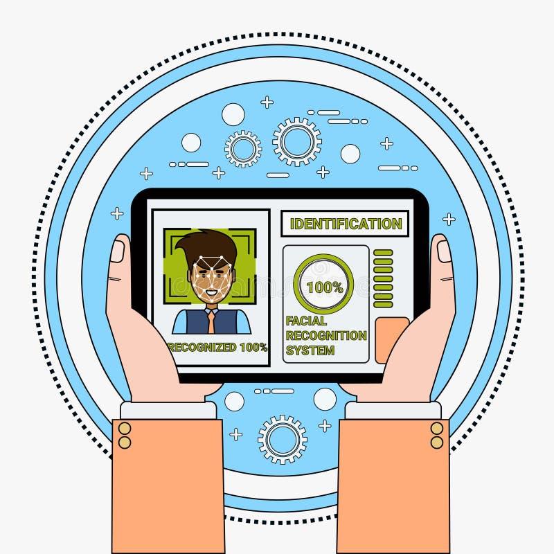 Mano que celebra el reconocimiento de cara del usuario de la exploración de la tableta de Digitaces y la identificación masculino libre illustration