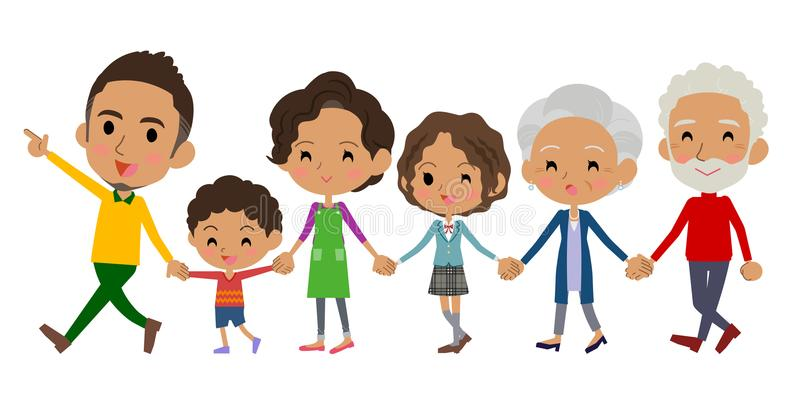 Mano que celebra las generaciones de la familia tres black_Walking ilustración del vector