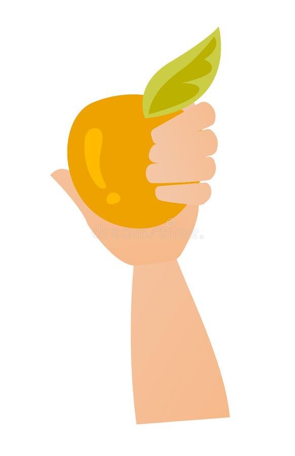 Mano que celebra un ejemplo de la historieta del vector de la manzana ilustración del vector