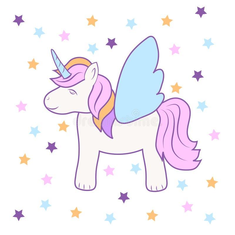 Mano que dibuja diseño lindo del ejemplo del vector de la acción del icono del unicornio libre illustration