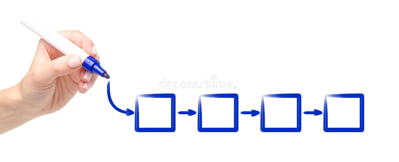 Mano que dibuja el organigrama vacío del marcador del esquema azul del diagrama imagen de archivo libre de regalías