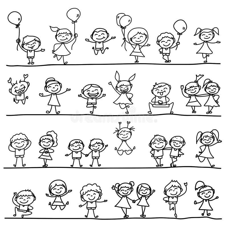 Mano que dibuja a niños felices stock de ilustración