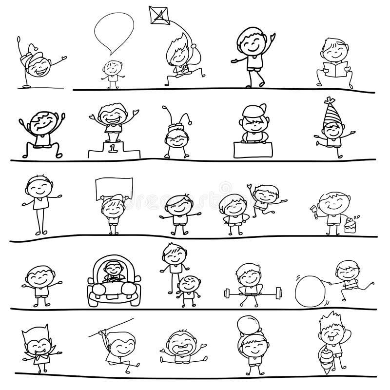 Mano que dibuja a niños felices ilustración del vector