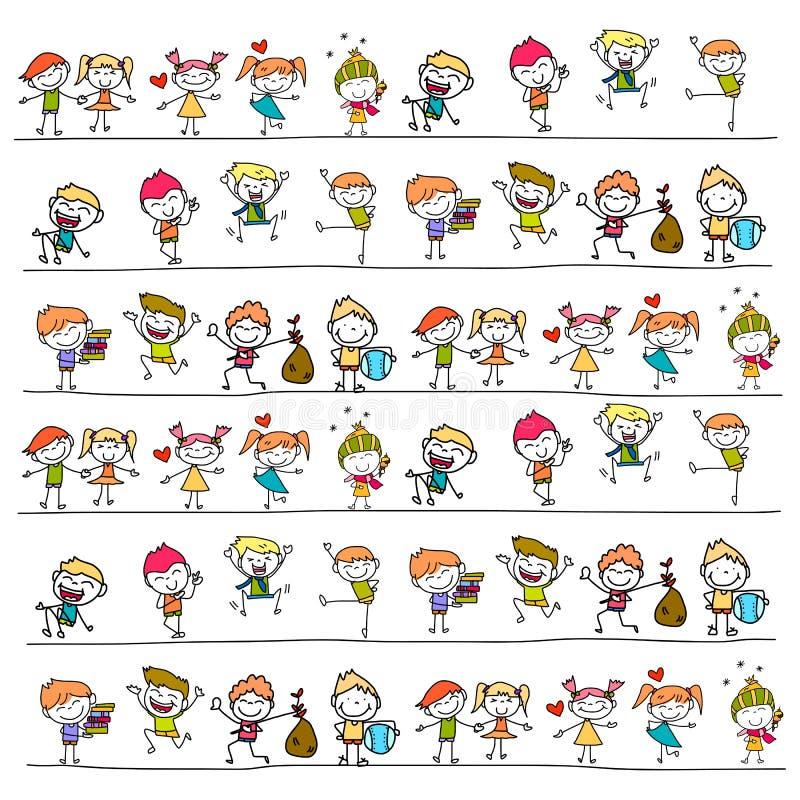 Mano que dibuja a niños felices libre illustration