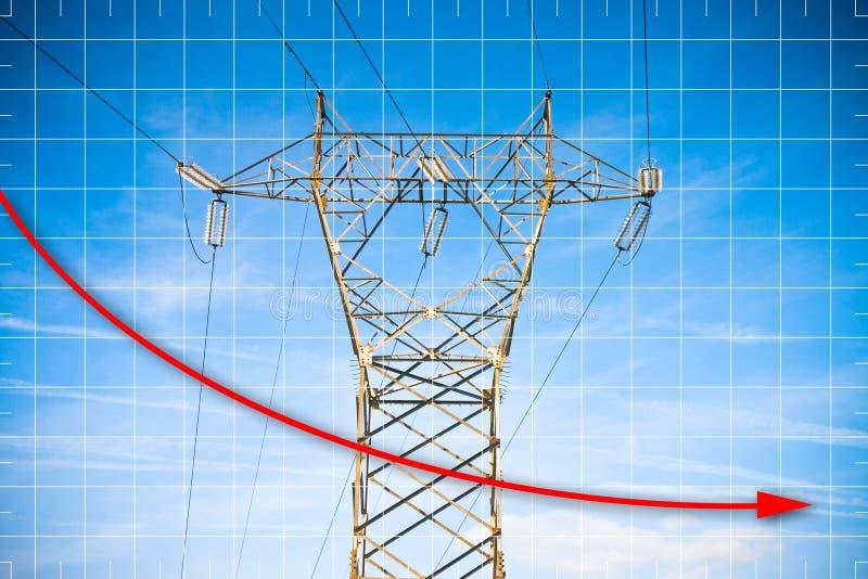 Mano que dibuja un gráfico sobre la producción energética - imagen del concepto con la torre de poder y líneas de transmisión en  stock de ilustración