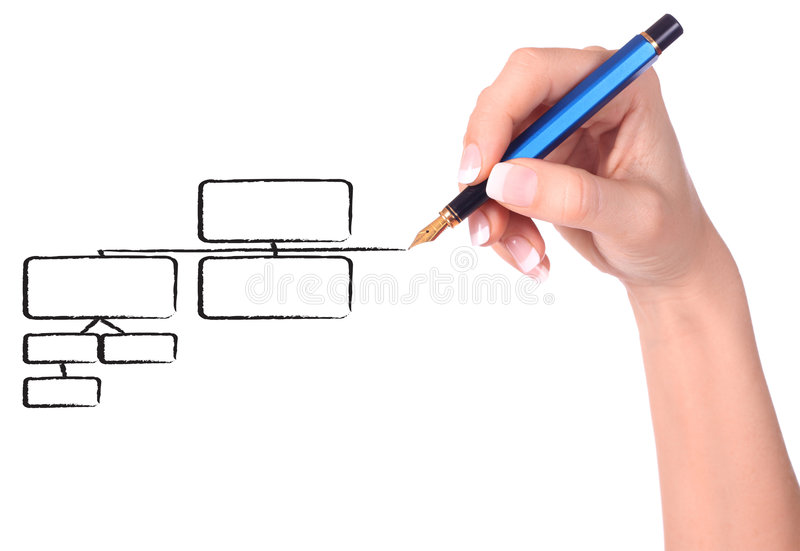 Mano que drena un diagrama vacío imagen de archivo