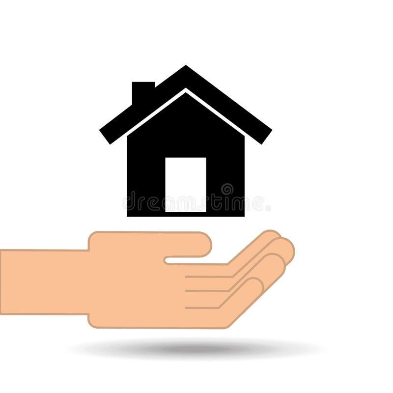 mano que lleva a cabo diseño del hogar de la casa ilustración del vector