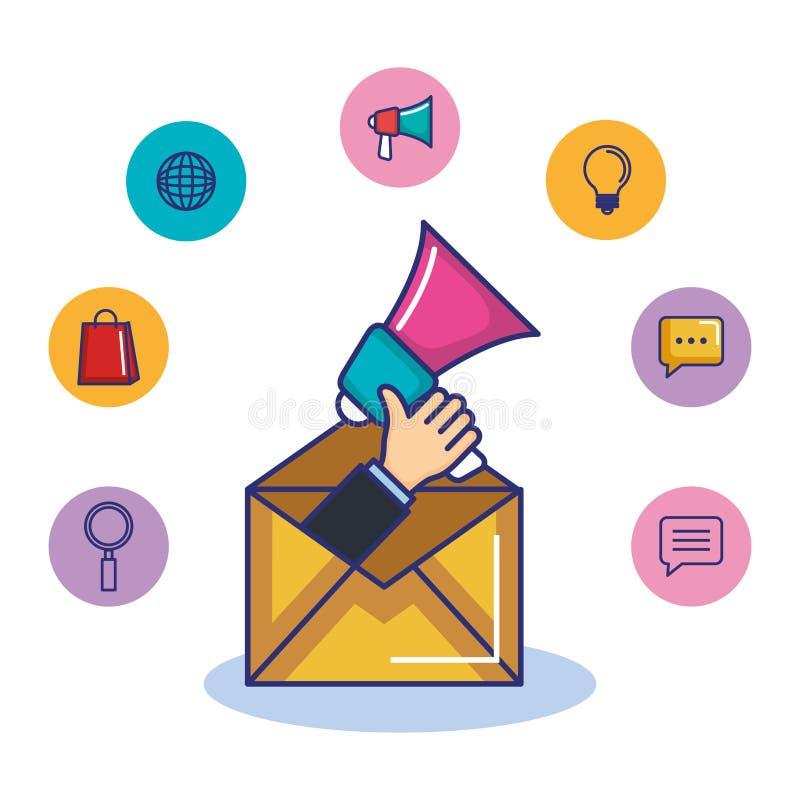 Mano que lleva a cabo el correo electrónico del megáfono y el márketing digital de los medios iconos del negocio libre illustration