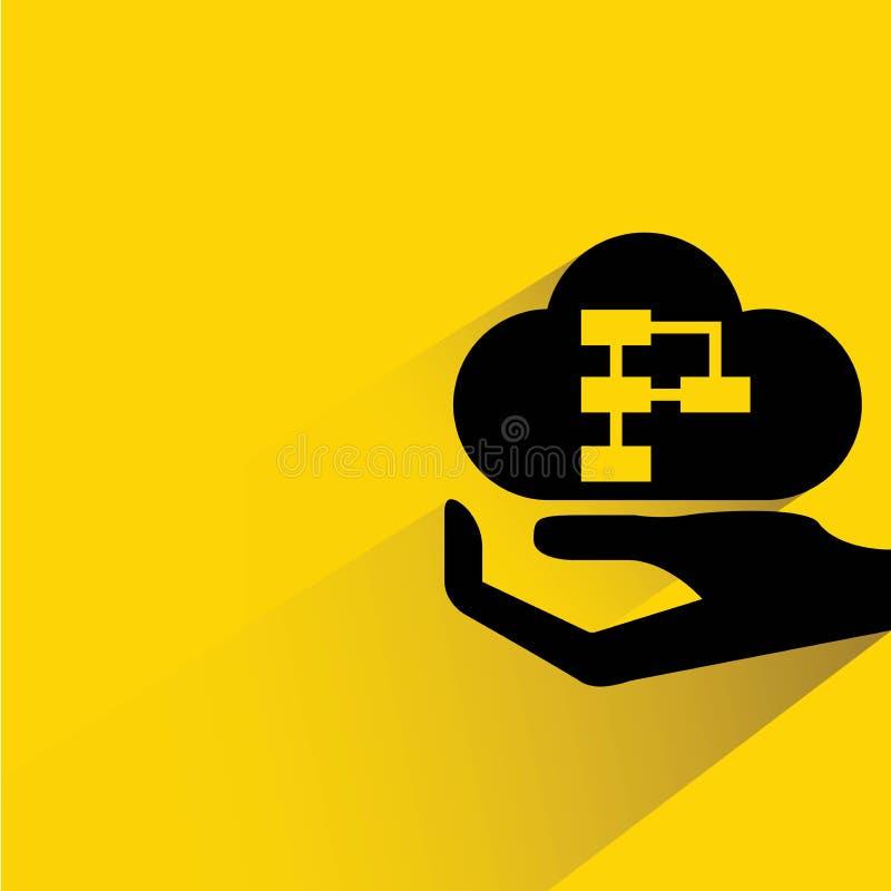 Mano que lleva a cabo el diagrama de la nube stock de ilustración