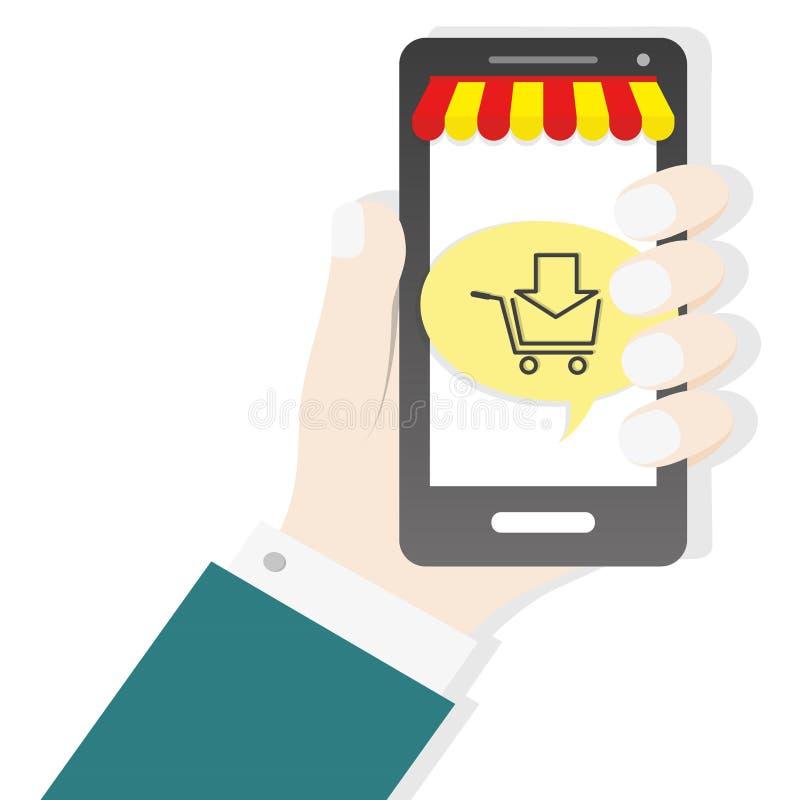 Mano que lleva a cabo el fondo del negocio del concepto de la tienda del comercio del icono del carro del smartphone stock de ilustración