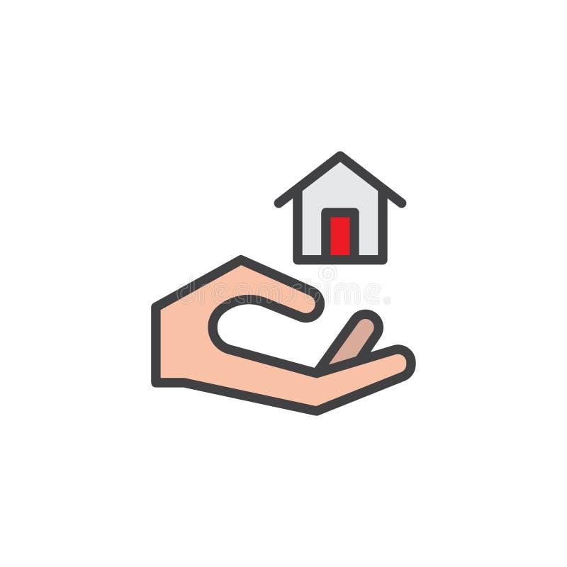 Mano que lleva a cabo el icono a casa llenado del esquema stock de ilustración