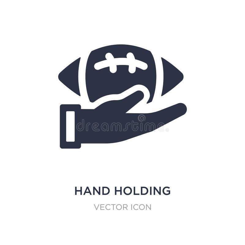 mano que lleva a cabo el icono de la bola en el fondo blanco Ejemplo simple del elemento del concepto del fútbol americano stock de ilustración