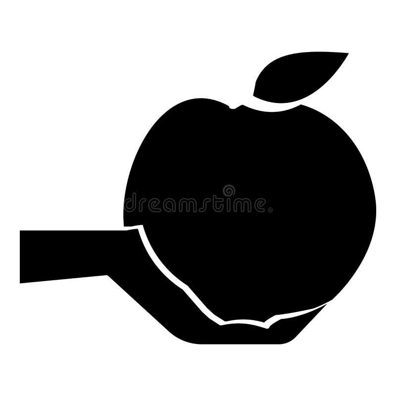 Mano que lleva a cabo el icono de la manzana, estilo simple ilustración del vector