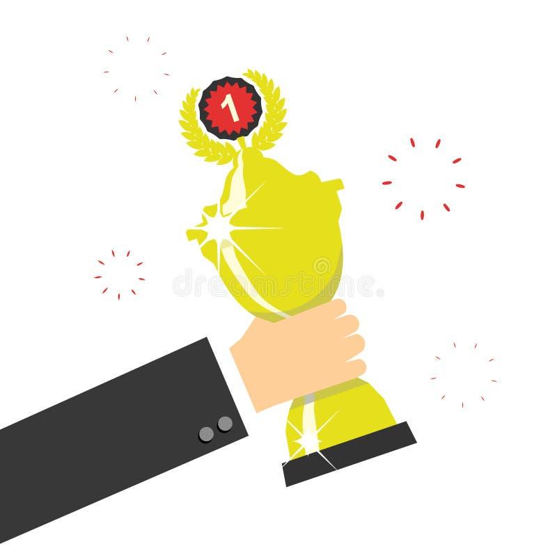 Mano que lleva a cabo el premio del trofeo de los ganadores Ilustración del vector stock de ilustración