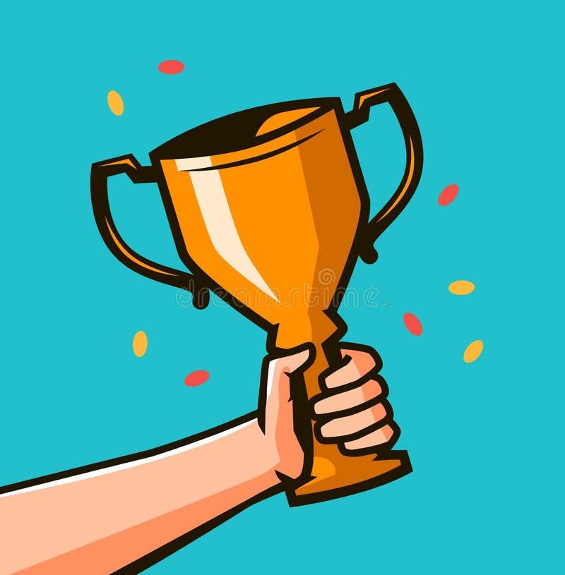 Mano que lleva a cabo el premio del trofeo del ` s del ganador Taza del oro que gana en manos libre illustration