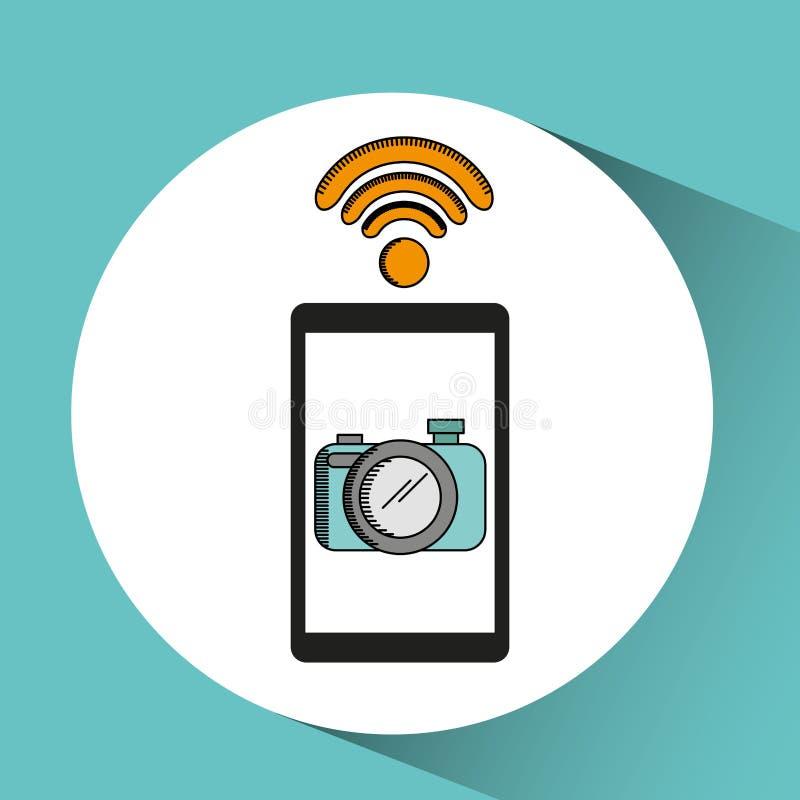 Mano que lleva a cabo el selfie móvil de la cámara del wifi stock de ilustración