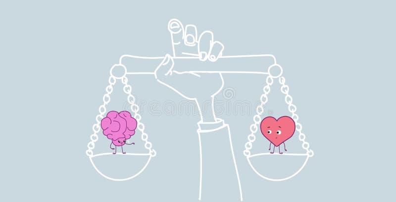 Mano que lleva a cabo estilo rosado del kawaii de los personajes de dibujos animados de la lógica de los pares del cerebro humano ilustración del vector