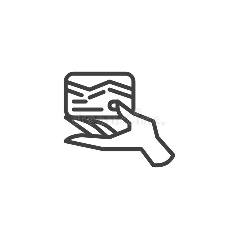 Mano que lleva a cabo la línea icono de la tarjeta de crédito stock de ilustración