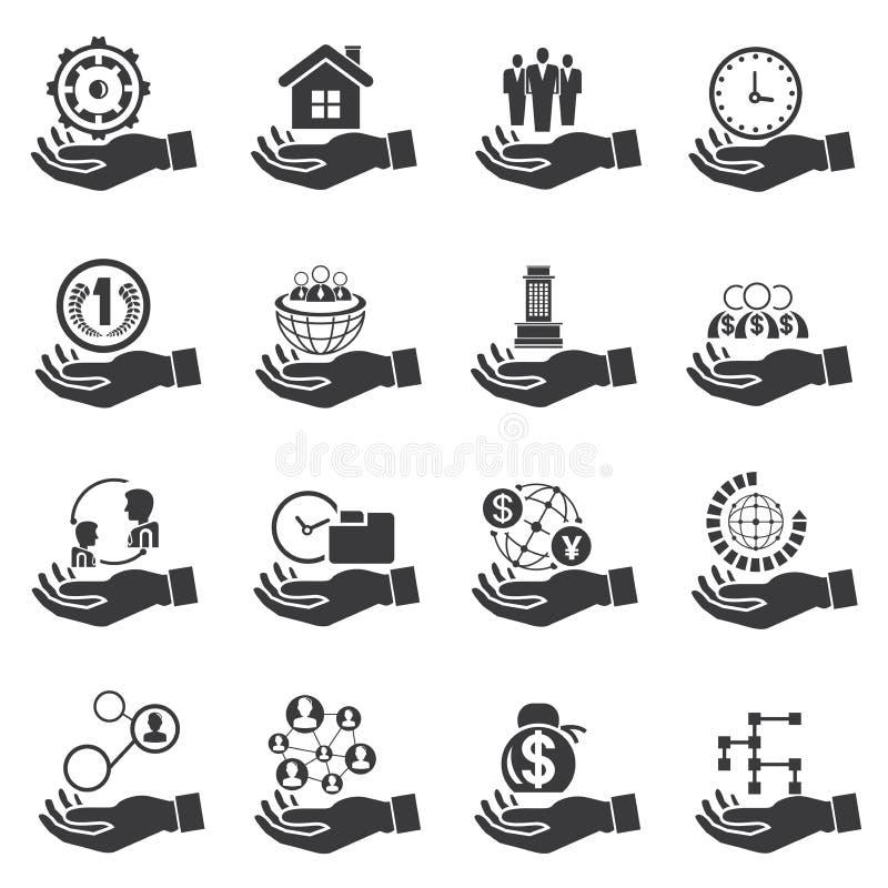 Mano que lleva a cabo los símbolos del negocio, concepto del negocio libre illustration